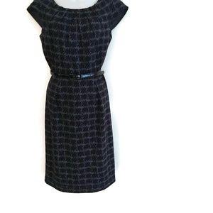 Calvin Klein Dress Black Gray Belted  Womens Size